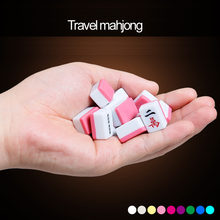 Mini Chinese mahjong tiles 144pcs/set 22*15mm or 24*16mm Portable travel Mah-Jong with leather table mat and carry bag(China)
