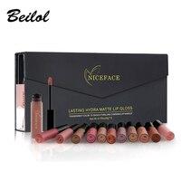 12PCS Set Liquid Matte Lip Gloss Cosmetics Waterproof Nude Lip Lipsticks Long Lasting Metallic Lipstick Stick