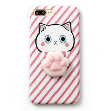 Корея супер мило 3D кошка лапой Куклы Мягкие силиконовые телефон чехол для iPhone 6 6 S плюс 7 7 Plus прекрасный кот Shell Обложка