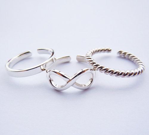 Wellmade 3pcs/set Solid 925Sterling Silver infinity rope plain Ring