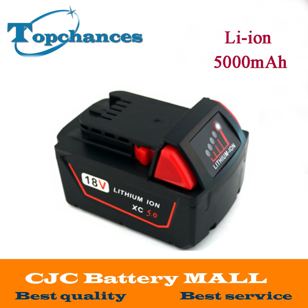 High Quality 18V 5000mAh Li-Ion Replacement Power Tool Battery for Milwaukee M18 XC 48-11-1815 M18B2 M18B4 M18BX Li18 18v li ion 3000mah replacement power tool battery for milwaukee m18 xc 48 11 1815 m18b2 m18b4 m18bx li18 with power charger