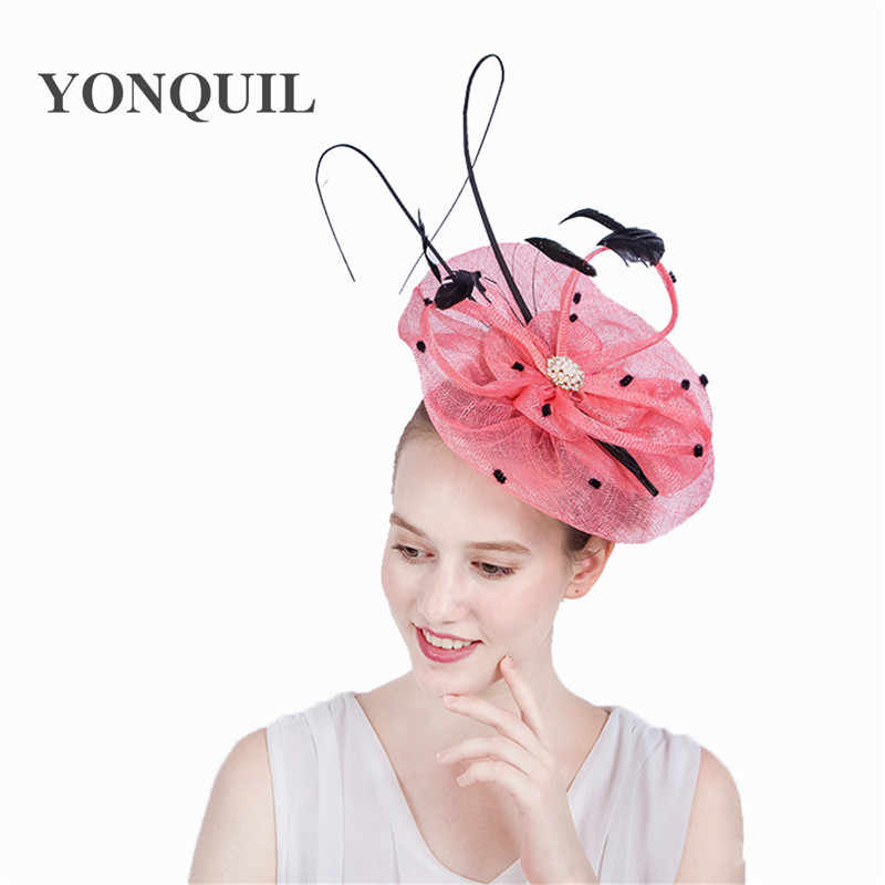 Fascinator hat sinamay royal ascot derby big pink women party wedding hair  accassories with ostrich quill 9d4a15837ef