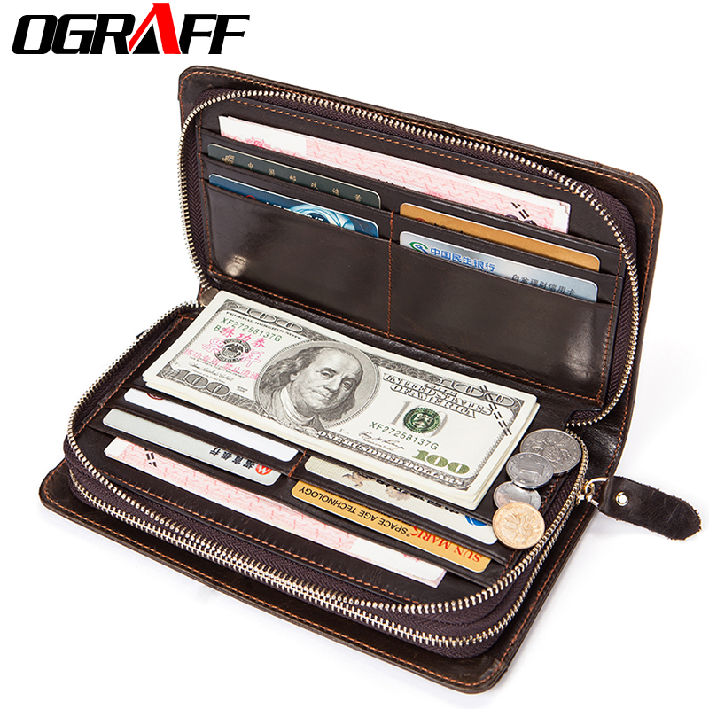 OGRAFF Genuine Leather Men Wallets Credit Card Holder Man Wallets Phone Coin Purse Money Male Clutch Bags Mens Wallet Purse New