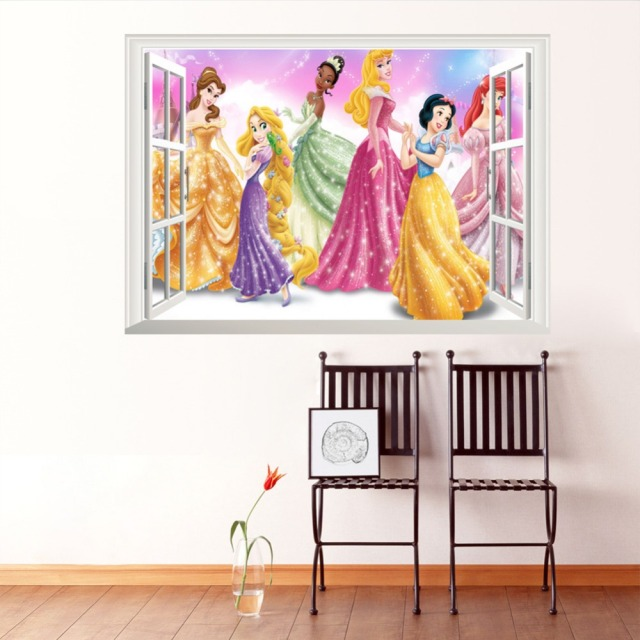 Hot Sale Princess Wall Stickers Girl children kids bedroom home decor wall decals Fro  zen wallpaper princess home decoration