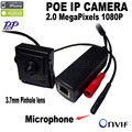 1080 p POE IP mini Câmera mini câmera POE ip câmera com Áudio HD Suporte para Câmera de Rede P2P ONVIF, Power Over Ethernet IPC web cam