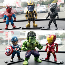 6Pcs/Set Car Ornaments Creativity for The Avengers Lron Man Defensive Interior Dashboard Decoration Toys Accessories