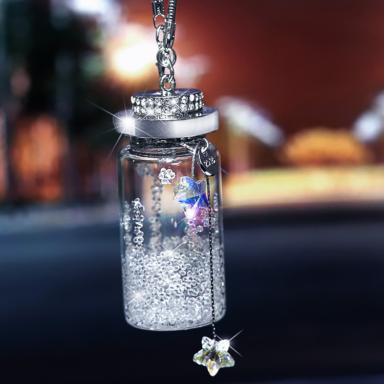 Crystal Wishing Bottle Hanging Ornament Rhinestone Interior Decor Crystal Lucky Charm Pendant Women|Ornaments| |  - title=