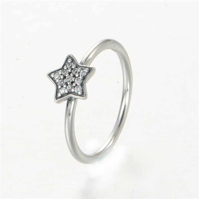 New Genuine 925 Sterling Silver CZ Pave Star Ring women sparkling star jewelry all brand-name watches