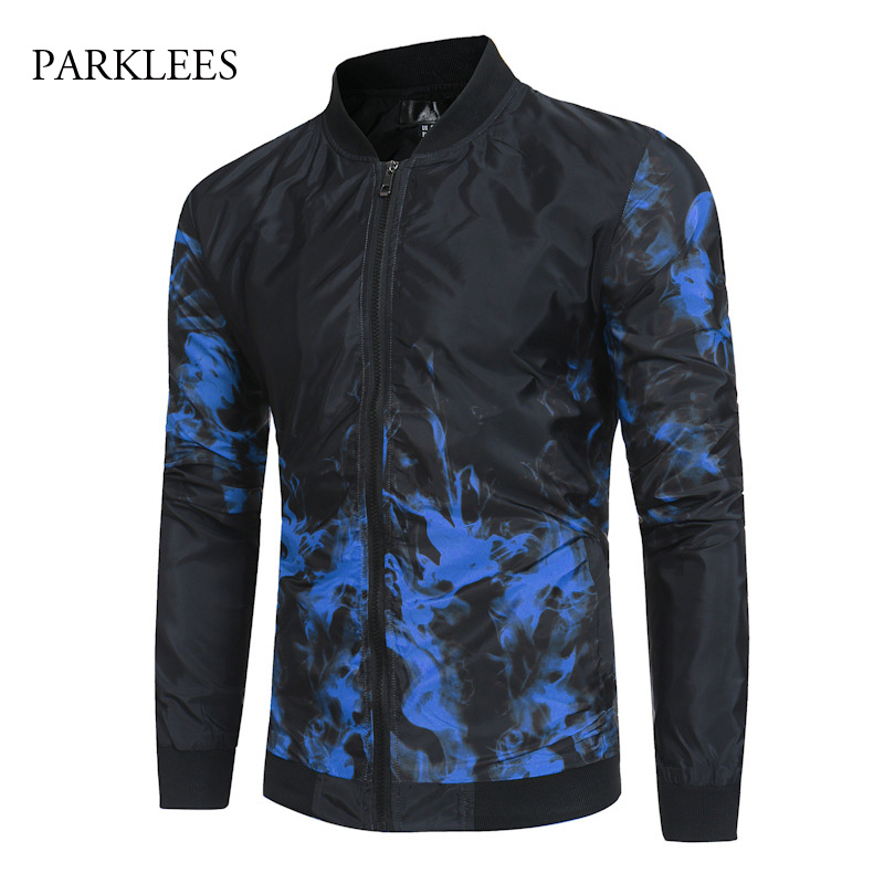 Mens Cool Blue Flame Printed Bomber Jacket Men 2018 Autumn ...