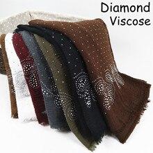 A21 고품질 다이아몬드 viscose hijab 스카프 목도리 여자 스카프 스카프 숙녀 포장 머리띠 10 개/몫 180*90cm