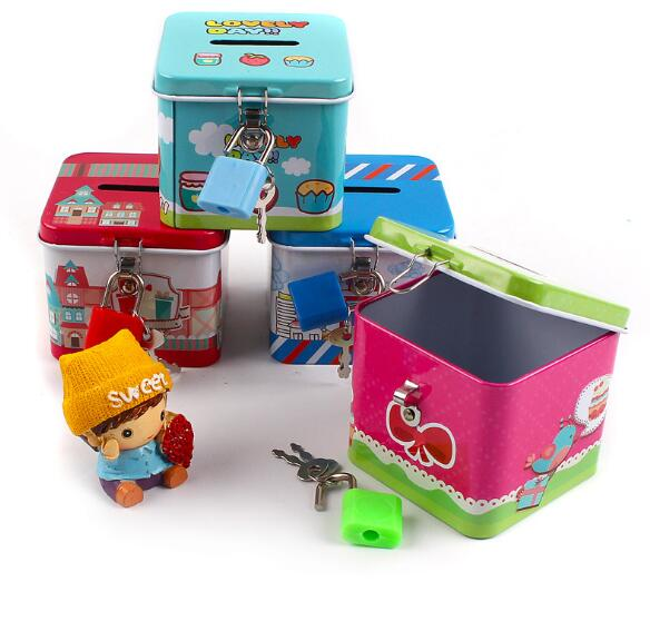 1PC Portable Cute Square Tin Metal Piggy Bank Saving Cash Coin Money Box Children Toy Kids Gifts Home Collection ELG 004