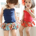 Retail New Summer Kids Girls Clothing Set Lace T shirt + Floral Dress Cotton Baby Girl Suits Set Fashion Children Girls Clothes