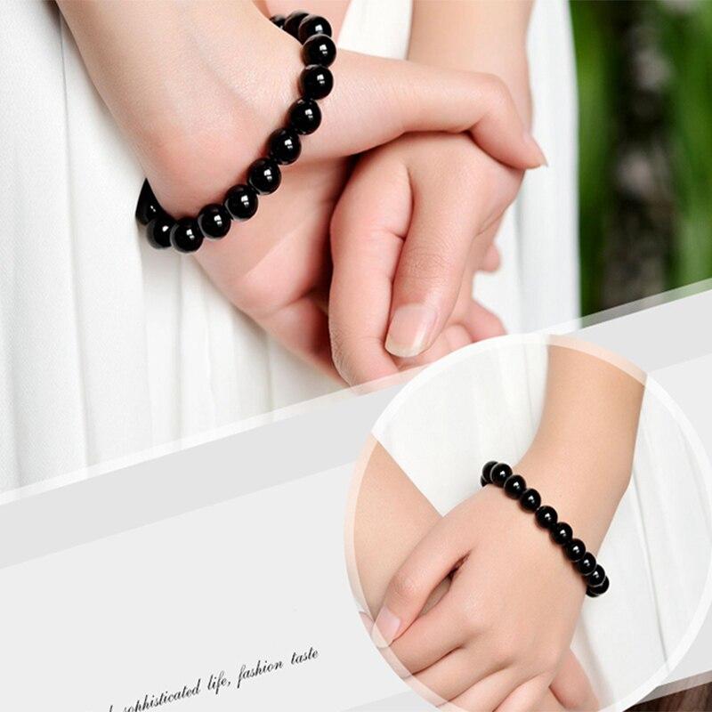 Fashion AAA Agates Bracelet Women Men Jewelry 4/6/8/12/14/16mm Black Onyx Bead Yoga Bracelets & Bangle Pulseira Masculin 2