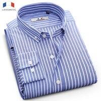 LANGMENG 100 Cotton Striped Shirt Mens Long Sleeve Business Dress Shirts Male Casual Shirts Brand Clothing