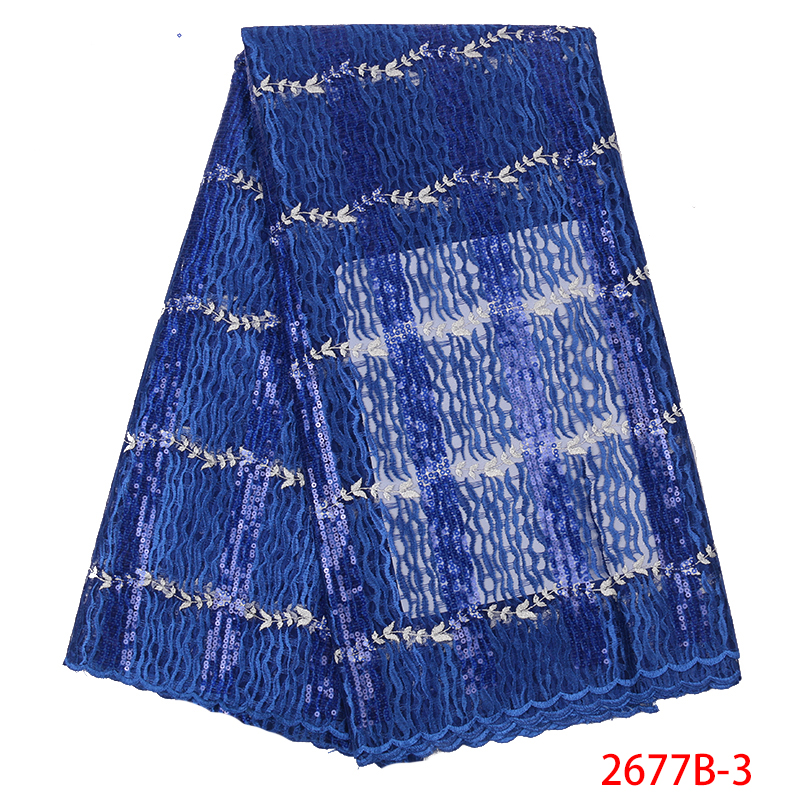 2019 High Quality African Lace Fabrics French Net Embroidery Sequins Tulle Lace Fabric For Nigerian Wedding