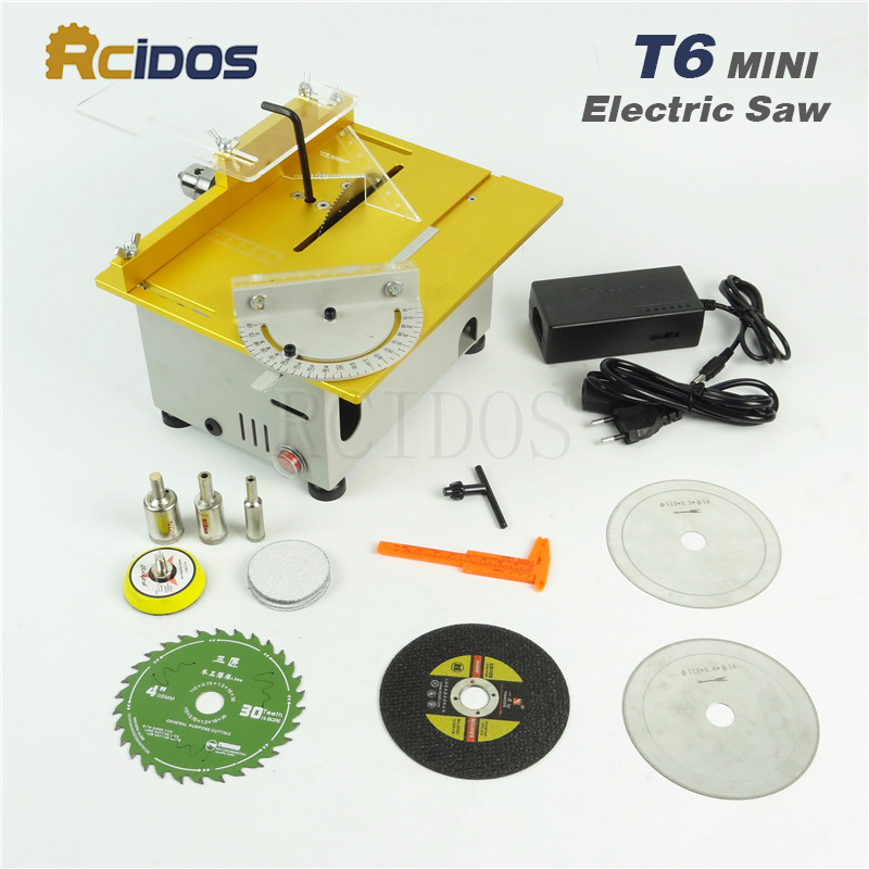 T6 RCIDOS Mini table saw/12V-24V portable DIY wood Cutting machine,Saw blade height adjustable,metal/Acrylic cutter,polish Machi adjustable range diy saw 8 12 with diamond saw blade for jade amber sapphire cutting tool metal wire saw garland saw