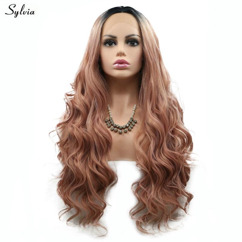 Sylvia Natural Wave Rökrosa Wig High Temperature Fiber Lång Hår - Syntetiskt hår - Foto 3