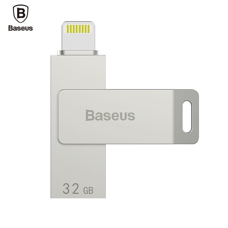BASEUS 32GB USB 3.0 High Speed Mini USB Flash Drive Memory Stick Zinc Alloy Chrome MFI for iPhone7 6 Plus 5C 4 for Apple For iOS