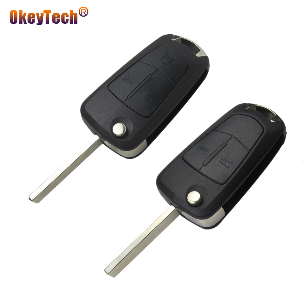 OkeyTech 2/3 Button Flip Folding Car Key Shell Case Cover For Vauxhall Opel Corsa Astra Zafira Insignia Vectra With HU100 Blade