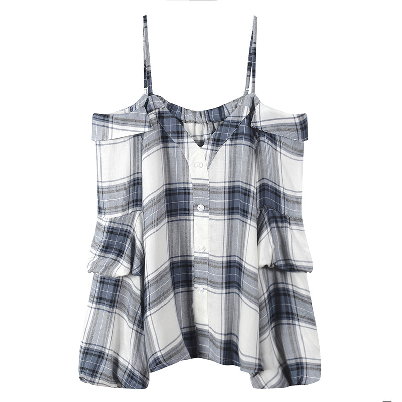GRUIICEEN New Vintage Autumn Lantern Long Sleeve Womens Tops And Blouses Plaid Korean Off Shoulder Fashion Blouses GY201894