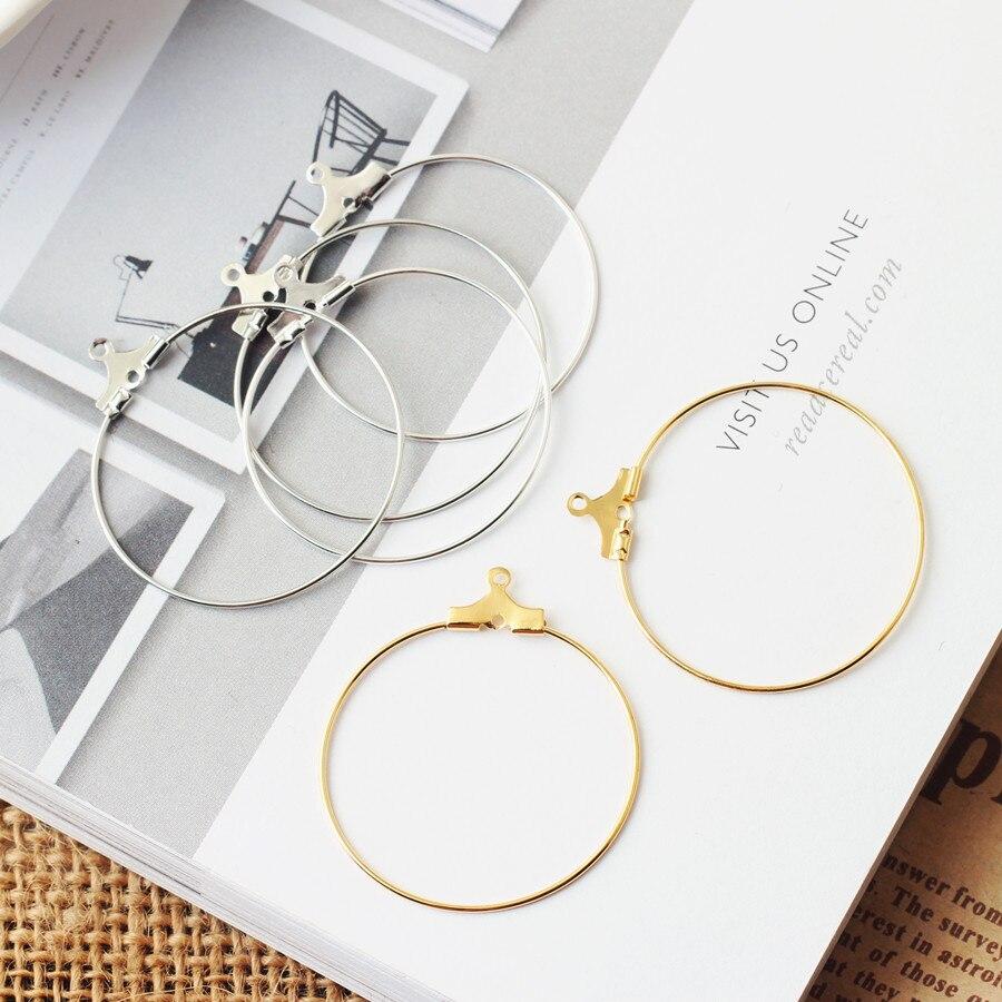 10pc złoty kolor 3cm okrągły okrągły kolczyk spadek wisiorek złącze pierścień DIY Ear Stud naszyjnik bransoletka wisiorek biżuteria znalezienie