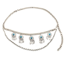NEW-Turquoise Round Pendant Fashion Waist Chain Belly Dance Beach Flower Silver Belt цена