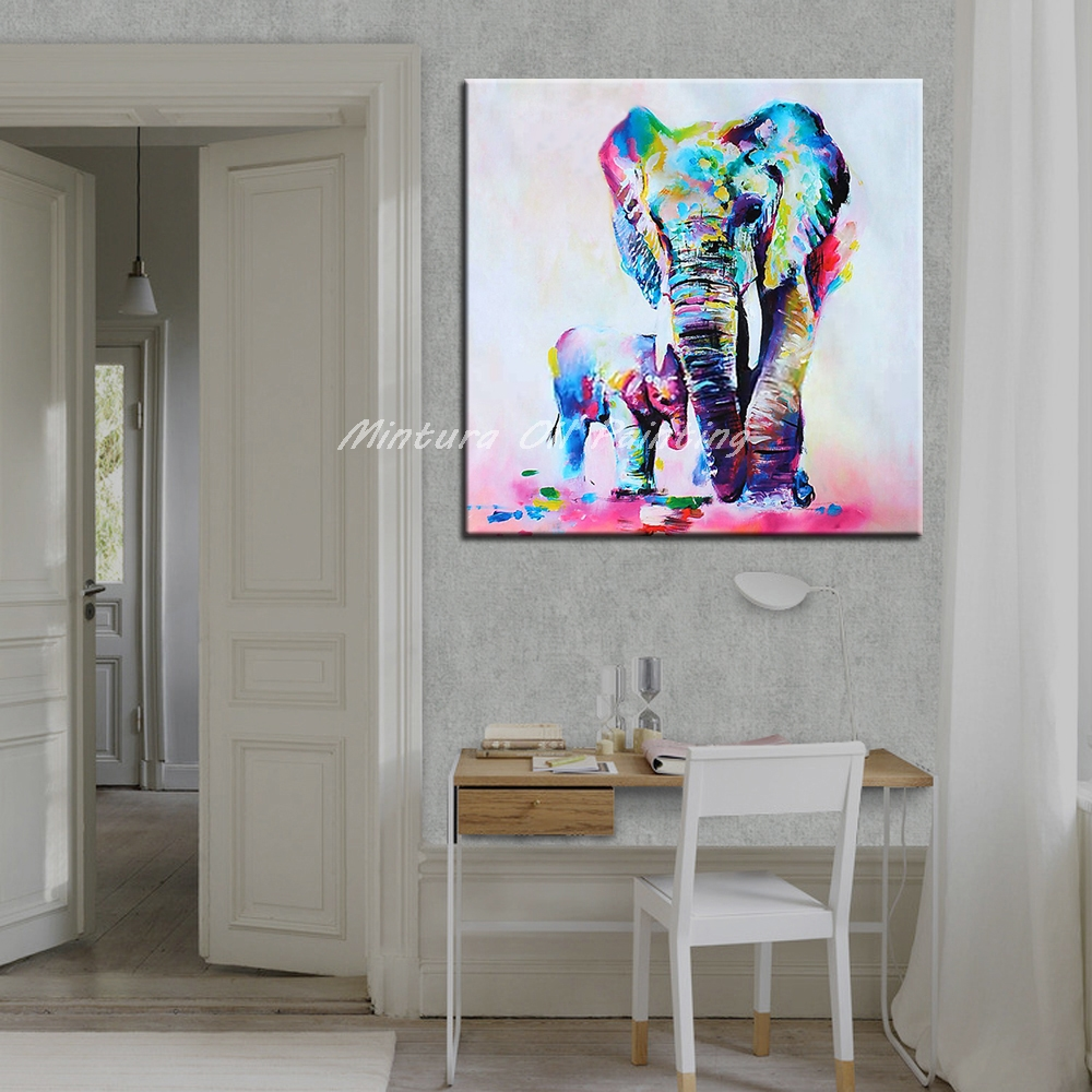 Mintura Frameless cuadros pintados a mano madre y bebé elefante ...
