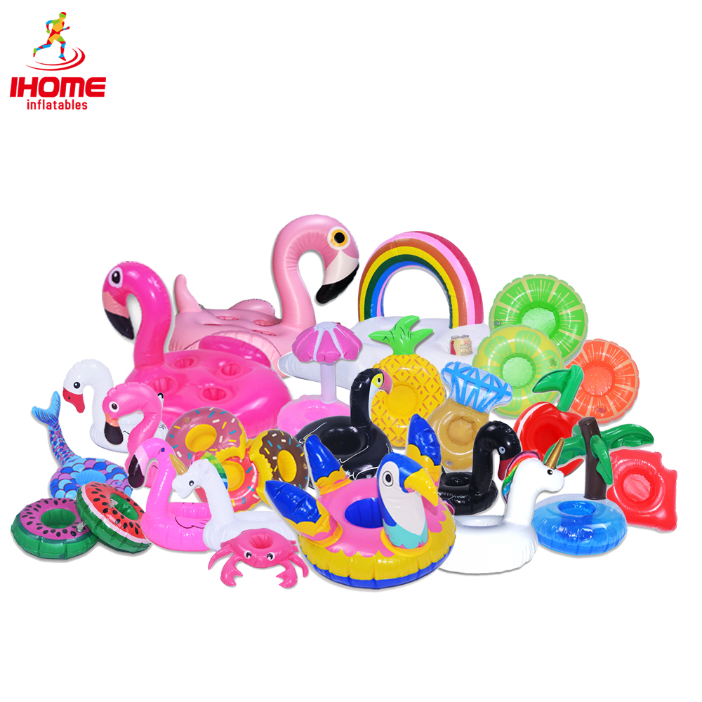 10pcs lot inflatable drink float cup holder unicorn Donuts swan coconut tree beverage pool party toys
