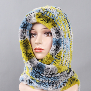 Image 5 - 2020 חדש רוסית נשים רקס ארנב פרווה סלעית צעיפי ליידי חורף חם 100% אמיתי רקס ארנב פרווה כובעי צעיף לסרוג אמיתי פרווה כובעים