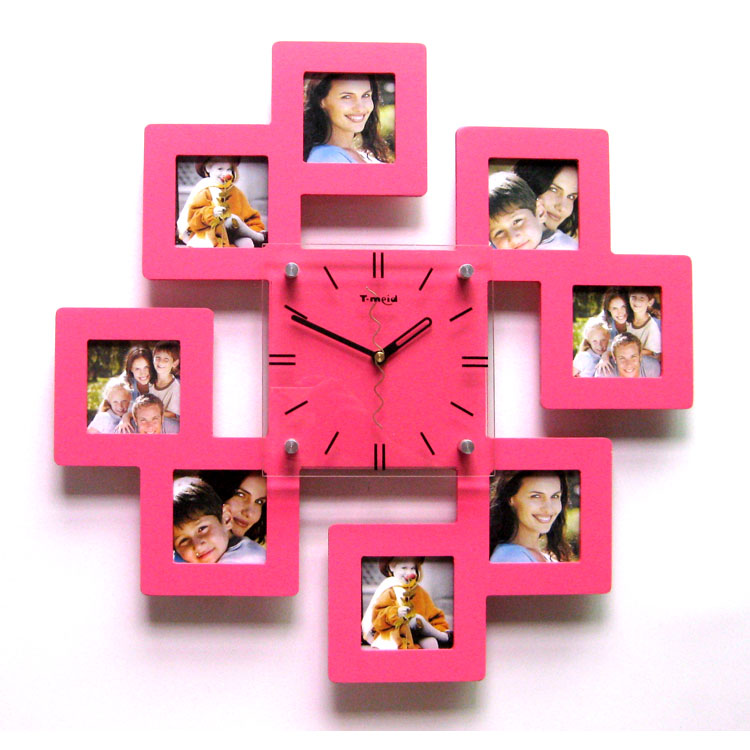 Photo Frame Wall Clock Fashion Mute Wall Clock Fashion Brief Rustic