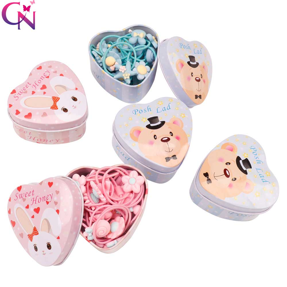 20pcs/Lot New Gift Box Packed Girls Cartoon Scrunchies Elastic Cute Headbands Flower Rubber Bands   Headwear   Hair Accessories