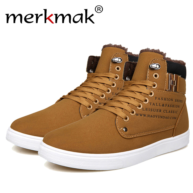 Merkmak 2018 Hot Men Shoes Fashion Warm Fur Winter Men Boots Autumn Leather Footwear For Man New High Top Canvas Casual Shoes