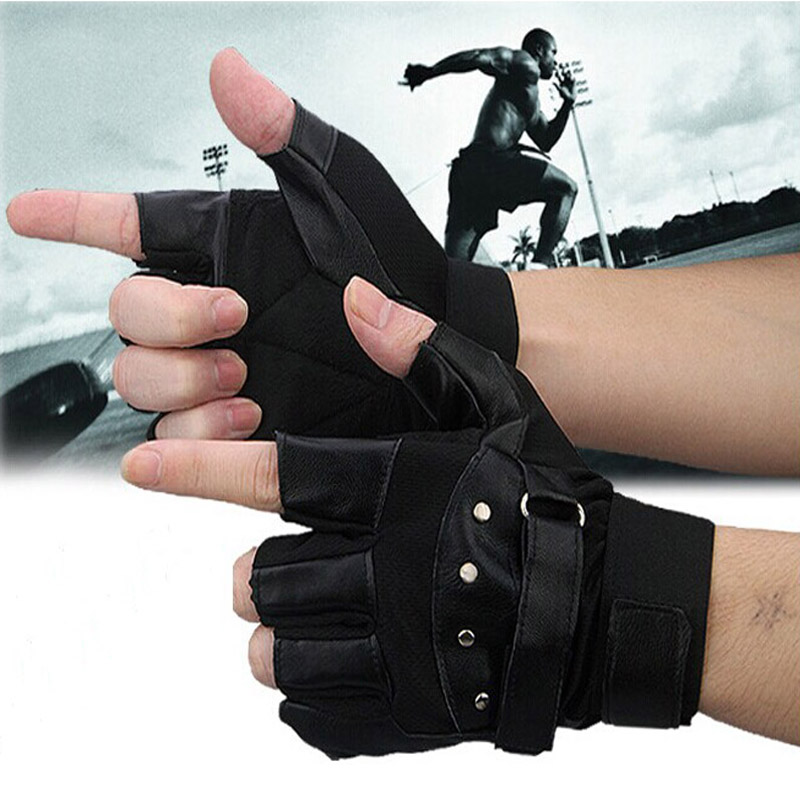 Auto Men Soft Sheep Leather Driving Motorcycle Biker Fingerless Warm Gloves Car-styling Motorcycle Gloves