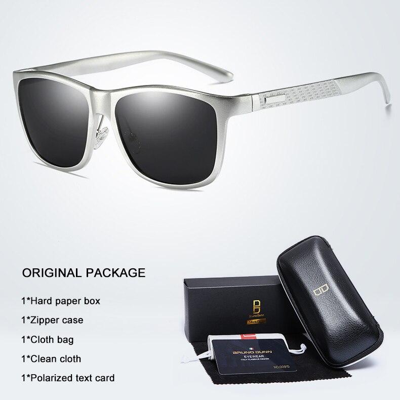 Bruno dunn Sunglasses Men Polarized 2020 Luxury Brand square metal frame male sun glasses oculos de sol masculino 2140 ray uv400 9