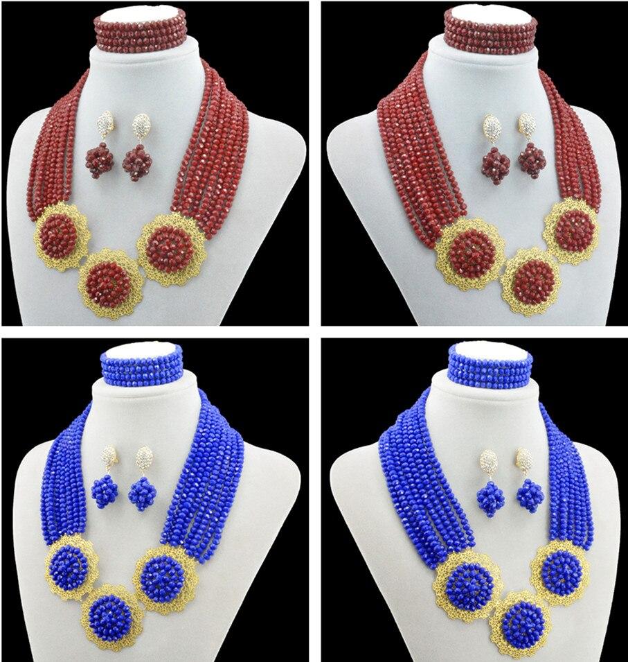 Nigerian Wedding African Beads Jewelry Sets Bohemian Handmade Acrylic Beads Drop Earrings Necklace Bridal Chain Women Dress Set bohemian beads necklace and earrings