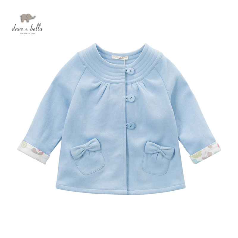 DB4450 davebella spring fall baby girl new blue coat sweet bow girl fancy coats kids beautiful