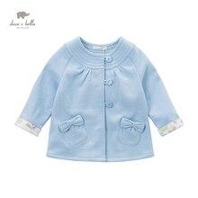DB4450 davebella printemps automne bébé fille nouveau bleu manteau doux arc fille fantaisie manteaux enfants belle survêtement