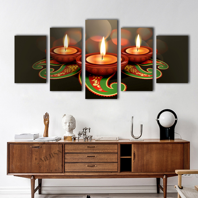 5 Pieces Modern Wall Art Religion Candle Canvas Painting Sunset At Sea Pictures Home Living