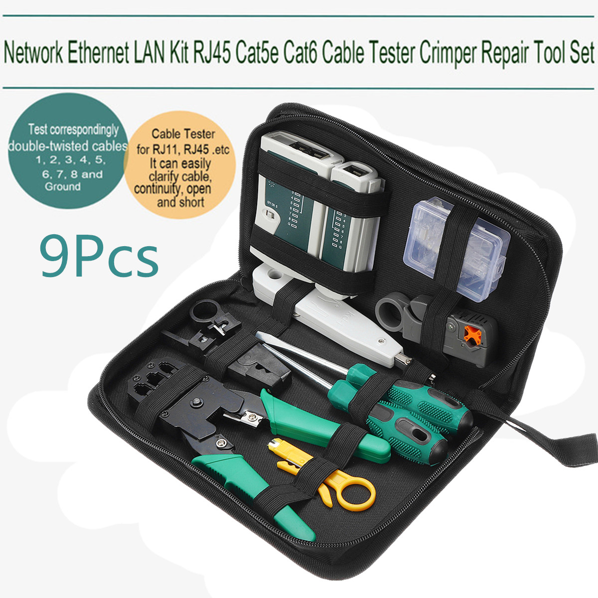 9 in1 LAN Network Repair Cable Tester Crimper Plier Hand Tool Kit Cat5 RJ45 RJ11 RJ12 Stripping Make Ethernet Connector Test rj45 rj11 rj12 cat5 network tool maintenance hand crimping kit cable tester connector crimper plug plier wire cutter screwdriver