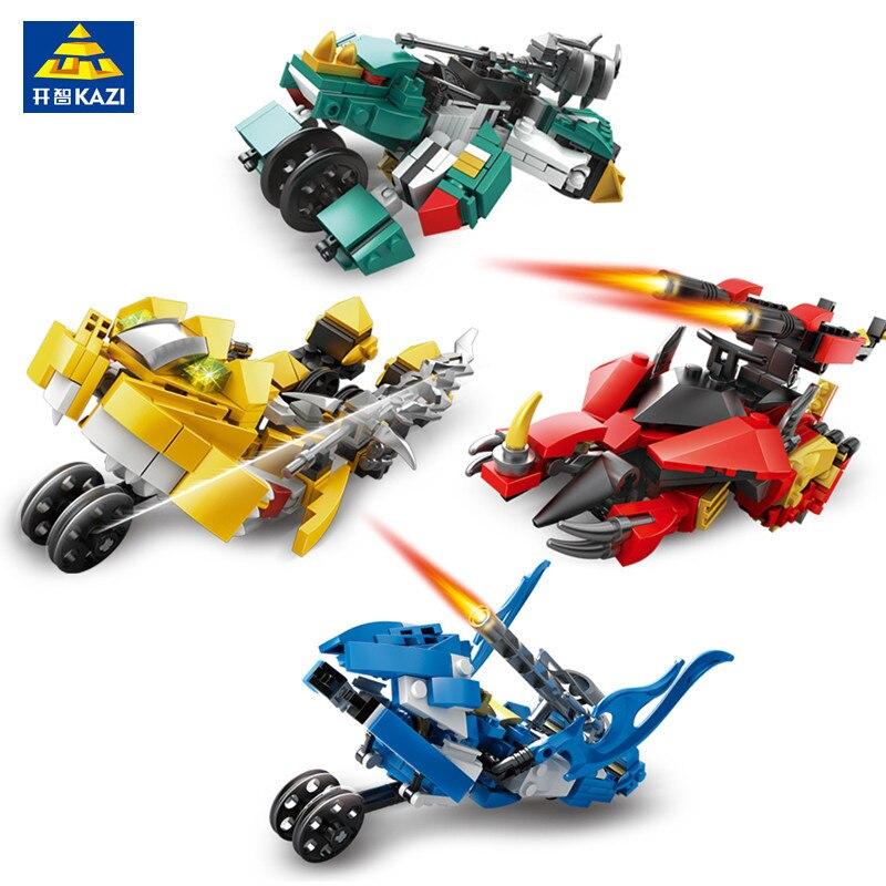 KAZI 4pcs/set Robot Transformation Truck Car Vehicle Figures Building Blocks Star Wars Bricks Gift Educational Toys For Children