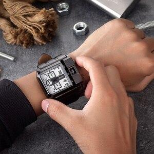 Image 4 - OULM Brand Original Unique Design Square Men Wristwatch Wide Big Dial Casual Leather Strap Quartz Watch Male Sport Watches
