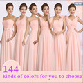 2016 New Peachy Pink Bridesmaid Dress Long Chiffon Cheap Winter Wedding Party Prom Dresses Vestido De Festa De Casamento Dama De