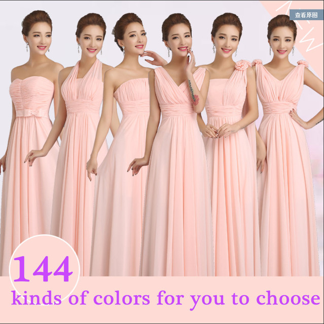2016 New Peachy Pink Bridesmaid Dress Long Chiffon Cheap Winter Wedding  Party Prom Dresses Vestido De 07e020cafb33