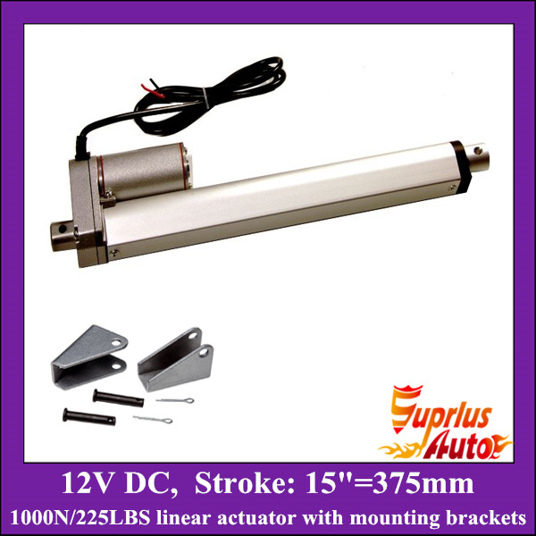 ФОТО 15inch/ 375mm stroke 12v linear actuator with mounting bracket, 1000N/100KGS load electric linear actuator