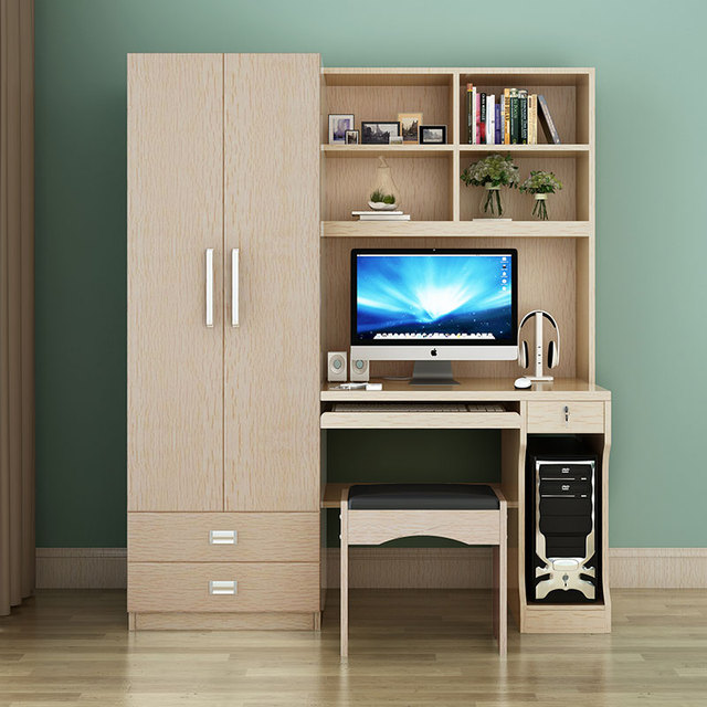 Amazing Table Desktop Home Computer Desk Combination Bookcase Wardrobe Double Door  One Study