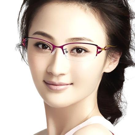 2014 Fashion Elegant Woman Metal Myopia Glasses Half Frame ...