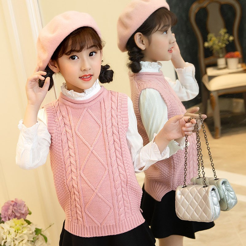 Sleeveless Teenage 2018 Sweaters For Girls Outerwear High Neck Knit Wear Autumn Winter Knitted Baby Sweater Children Vest 2018 купить в Москве 2019