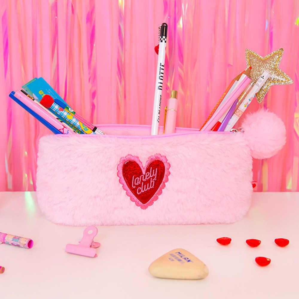 Lanzon en peluche sac cosmétique étudiant filles mignon doux flanelle porte-crayon broderie maquillage sac à main femmes bureau fournitures scolaires