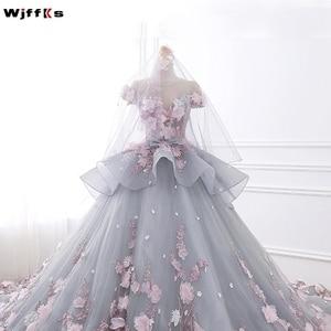 Image 3 - WJFFKS 2019 สีสัน Luxur บอลชุด Vestidos De Noiva Appliques สีชมพูดอกไม้งานแต่งงานชุด Robe De Mariee Gowns แต่งงาน
