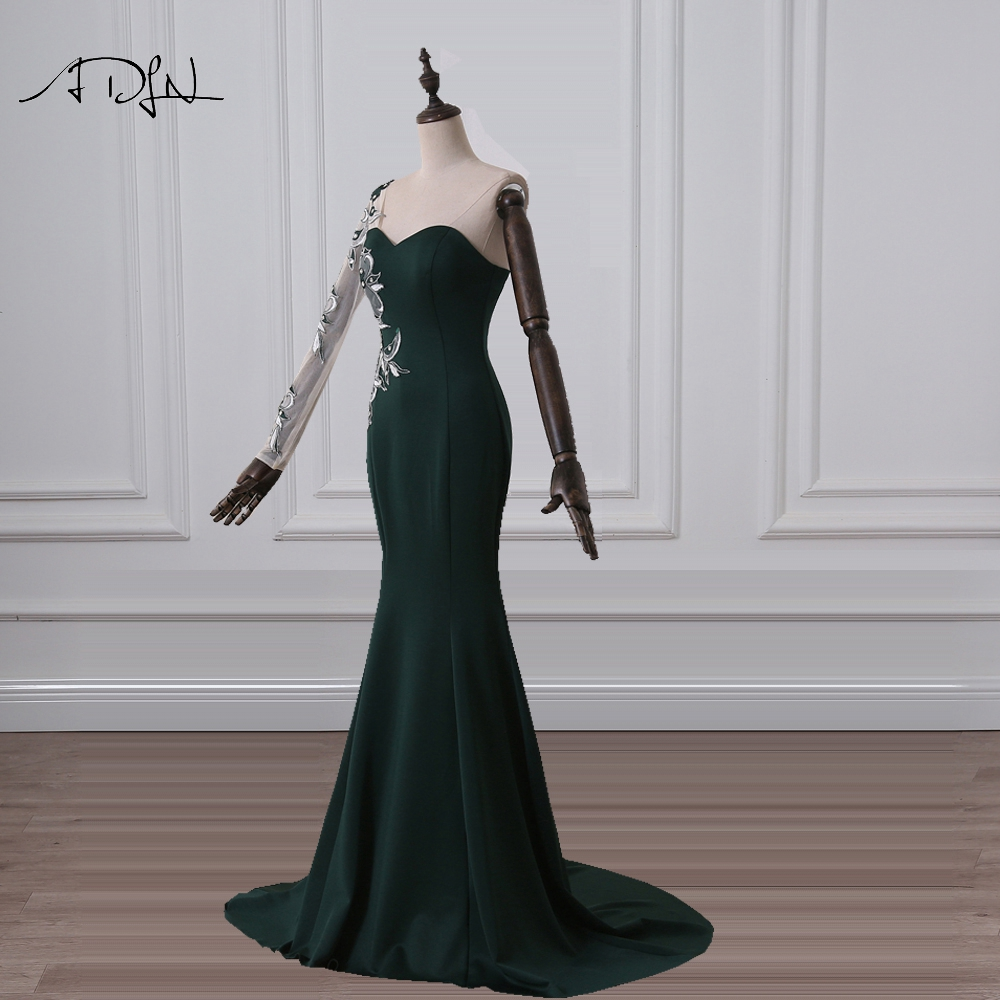 ADLN Dark Green Evening Dresses Long Sleeves Jersey Formal Mermaid Party Gown With Embroidery Cheap Special Occasion Wear